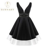 Sunvary Sexy Deep V Neck Backless Homecoming Dress Sleeveless Mini Graduation Dress Jeweled Sash A Line Homecoming dress