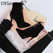 DEleventh women's boots winter shoes stilettos high heels fashion ankle boots pointed toe sexy shoes woman lace up ladies pumps