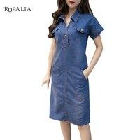 High Quality 2017 Summer Denim Dress Women Clothing 3XL Women Jeans Dress Elegant Casual Cowboy Dresses