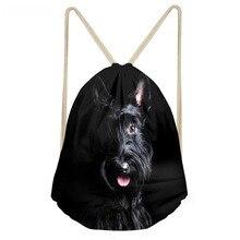 ThiKin Funny 3D Dog Scottish Terrier Print Women Men Drawstrings Bags Teens Boys Girls Storage Backpacks Softback Beach Bag