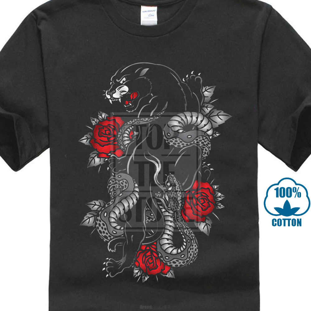 9ac1c179c48 2017 New Panther Snake Roses Tattoo Style 25768 3D Printed Men s 100% Cotton  Short Sleeve