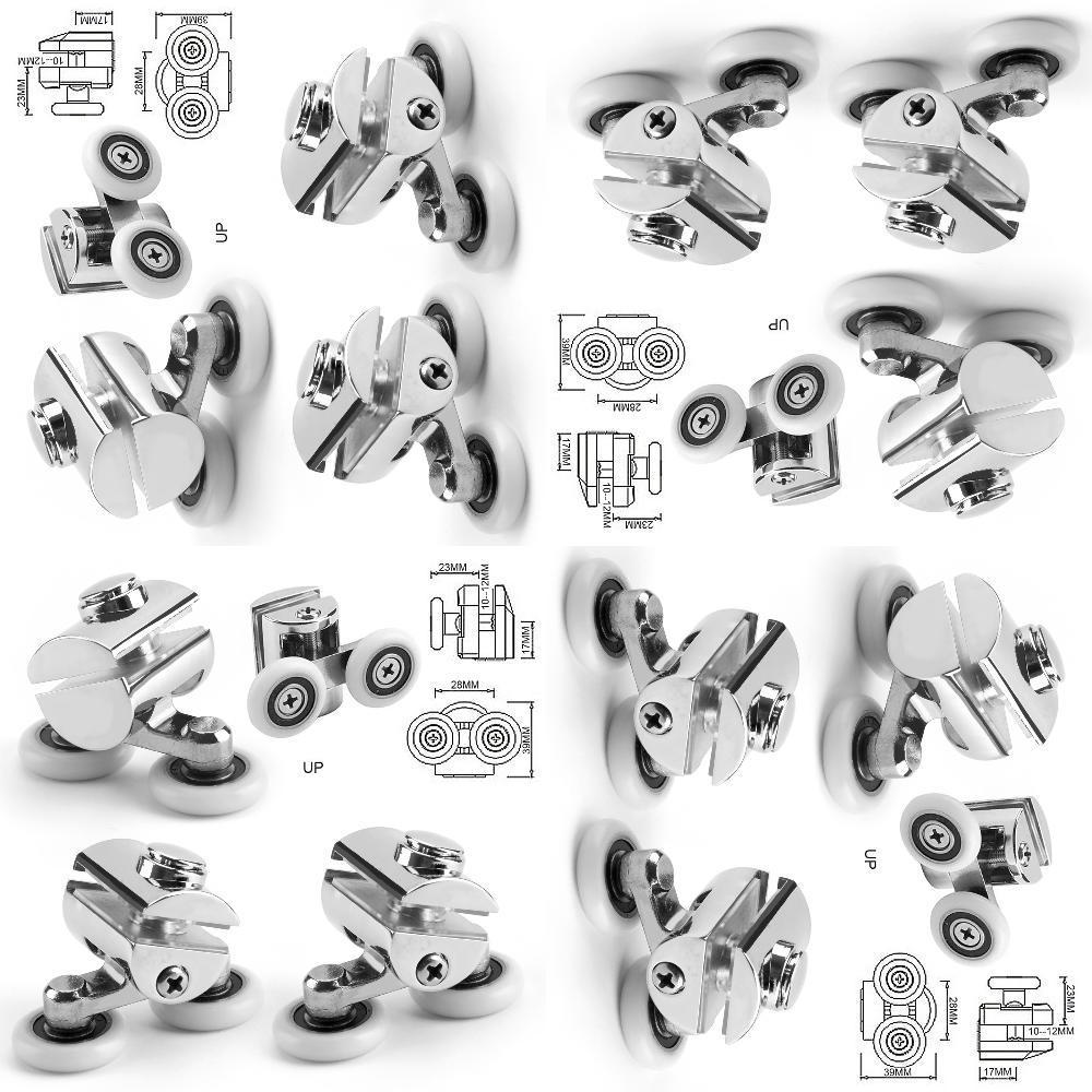 2 Top Heavy Duty Zinc Alloy Twin Top/Buttom Door Wheels Shower Door Rollers Runners Type Wheel For Shower Enclosures