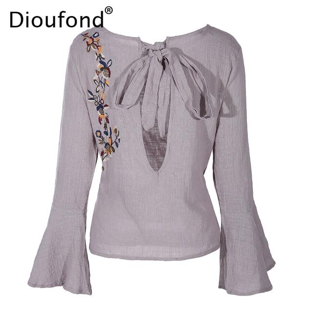 Dioufond Chiffon Camisas Bordada de Flores Blusas Mujeres