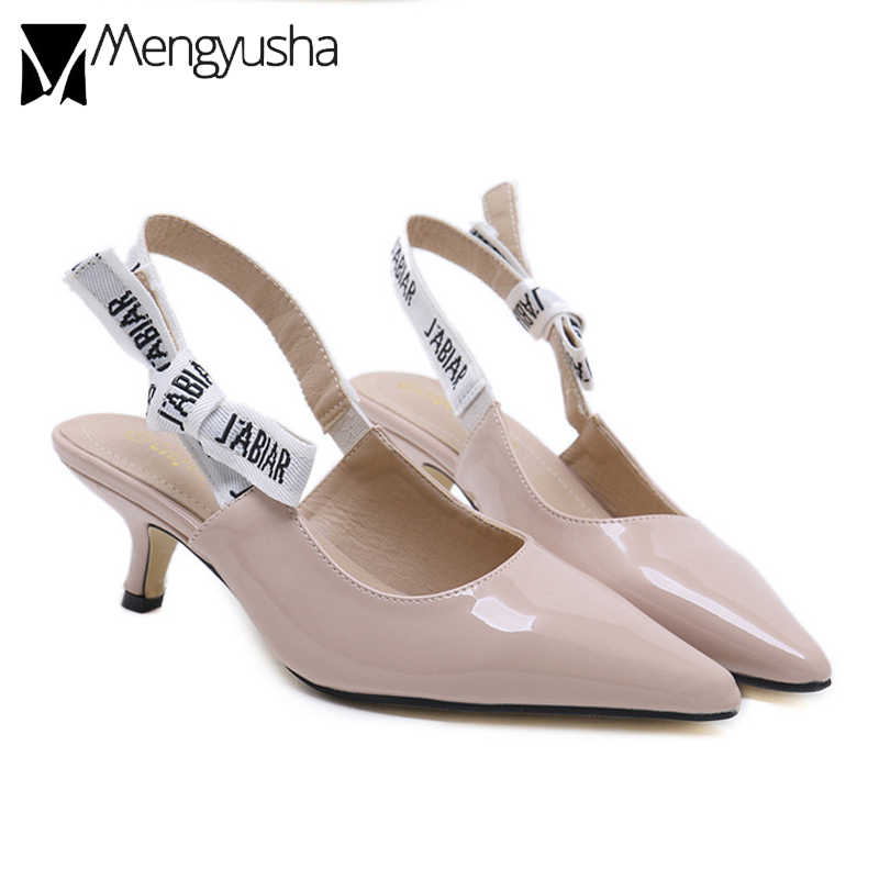 ee3b7465d5e9 patent leather cut out thin heel sandals woman back strap bow knot beach sandals  female pointed