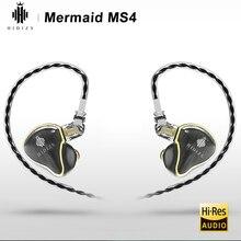 Hi Fi наушники HIDIZS Mermaid MS4, 4 драйвера, гибридные, 3 Knowles BA + 1 DD, Внутриканальные наушники вкладыши, IEM 2 Pin, 0,78 мм, Съемник