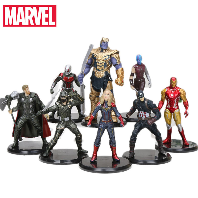 8pcs/set 8-11cm Marvel Toys Avengers Endgame PVC Action Figures Spiderman Ronin ironman Captain Marvel Thanos Ant-Man Model Doll(China)