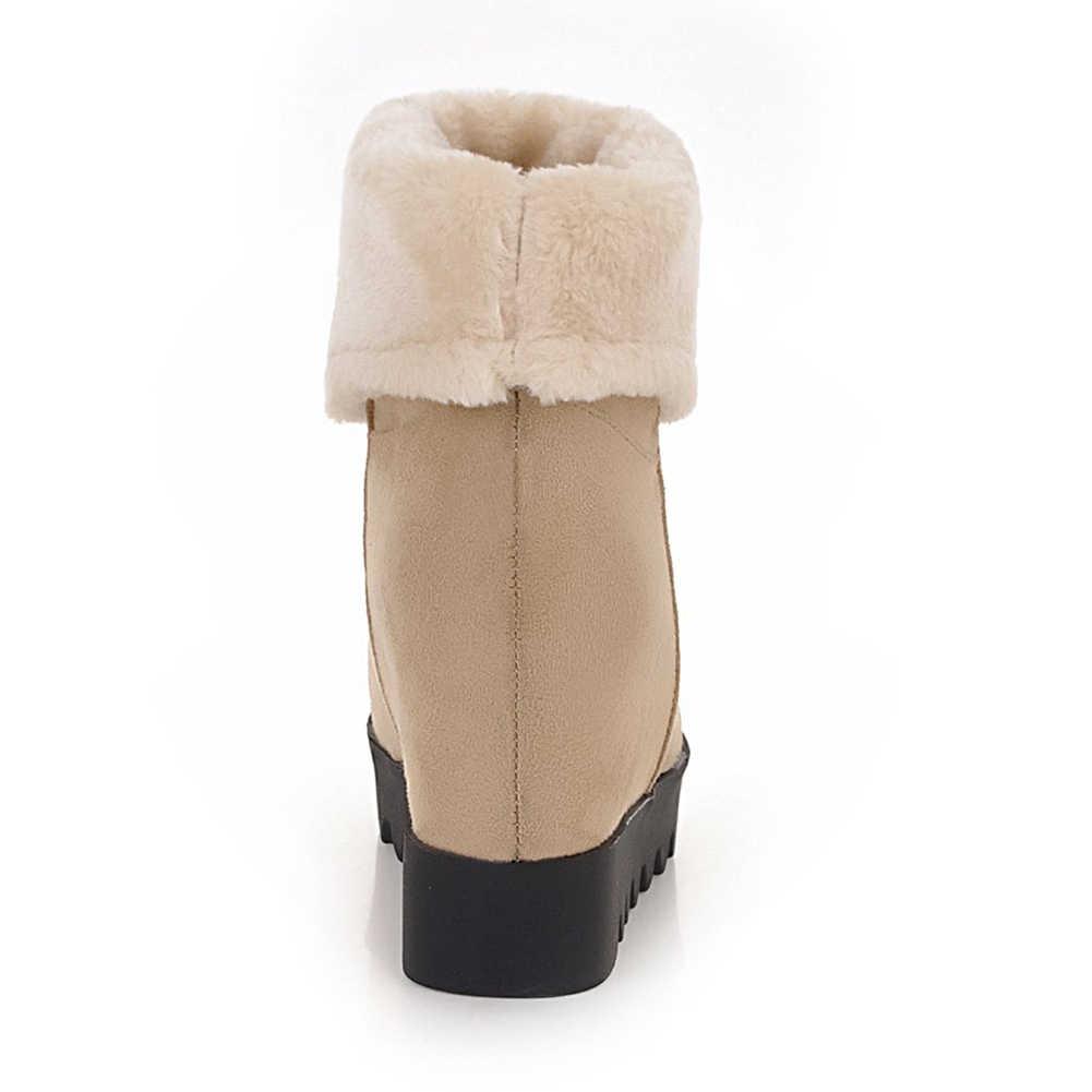 DoraTasia Yeni Kadın Kar Botları Kış Büyük Boy 34-43 Sıcak Kürk Platformu yarım çizmeler Kadın slip-on Yüksekliği artan Ayakkabı Kadın