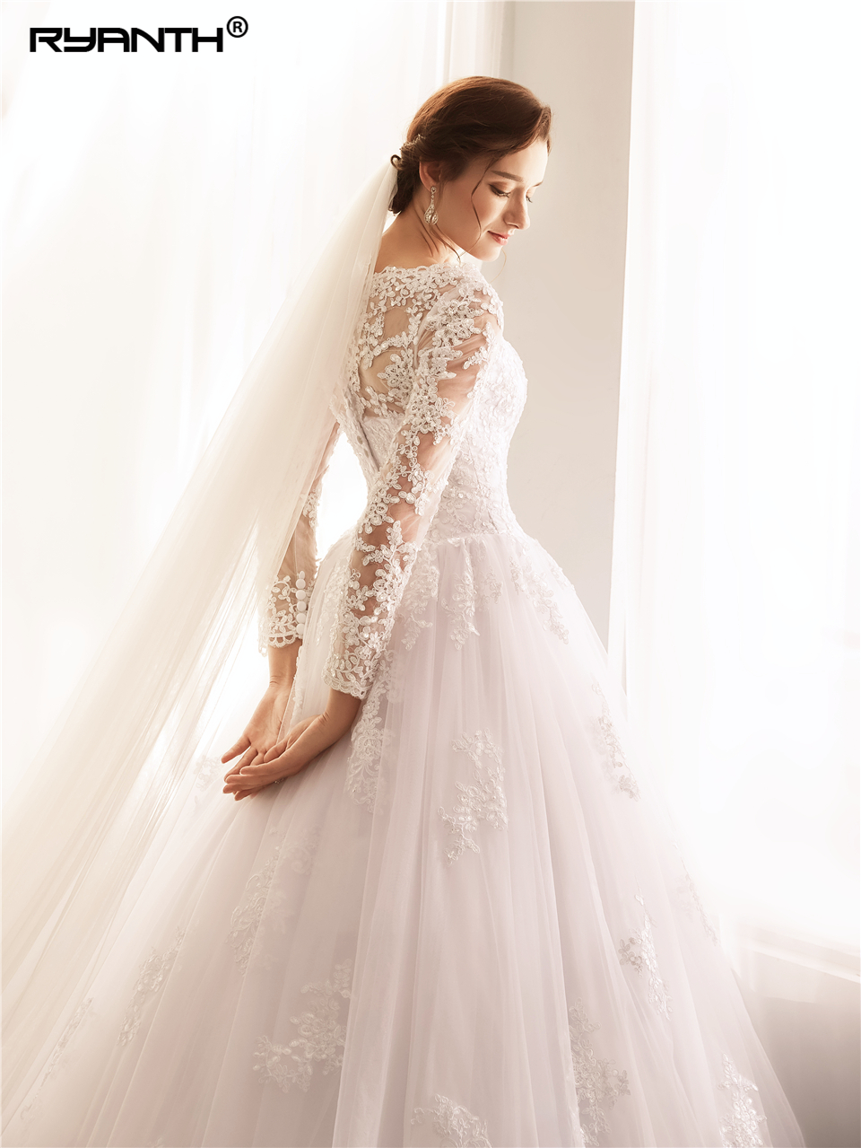 Custom Made Vestido De Noiva Cheap High Neck Long Sleeves Lade A Line Wedding Dress 2019 New Arrival Bohemian Robe De Mariee in Wedding Dresses from Weddings Events
