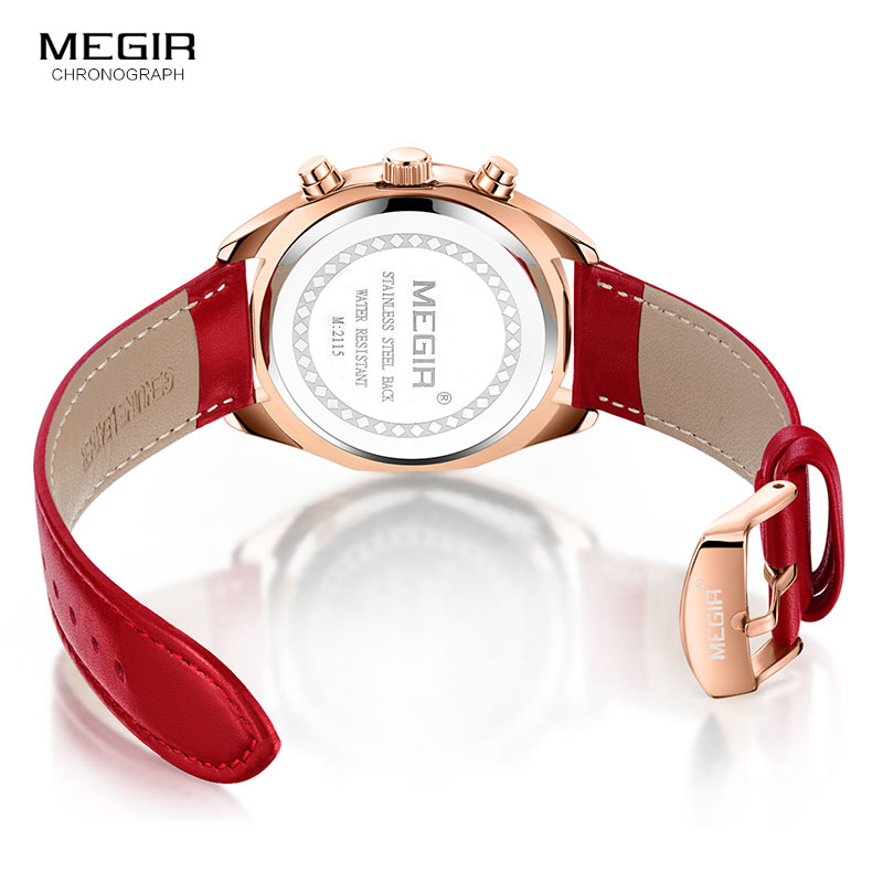 baf3914a2cd Megir Women s Leisure Quartz Watches 24 Hours Leather Strap Waterproof  Chronograph Wristwatch Lady Relogios Femininos 2115 Red-in Women s Watches  from ...