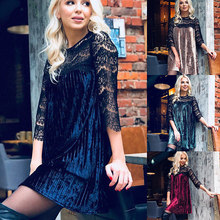 2018 New Women Velvet Dress Sexy Lace Stitching Hallow Out Loose Mini Dress Fashion Party Pleated Dresses Spring Autumn Clothes