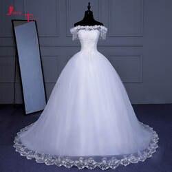 Jark Tozr на заказ бисерные украшения для выреза «Лодочка» кисточка белые тюлевые аппликации роскошное свадебное платье А-силуэта плюс размер