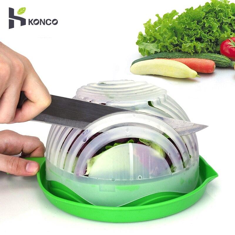 KONCO Upgrade 60s Salad Cutter Bowl Easy Salad Maker Bowl Quick Safe Fruit & Vegetable Chopped Cutting Tools Kitchen Gadget