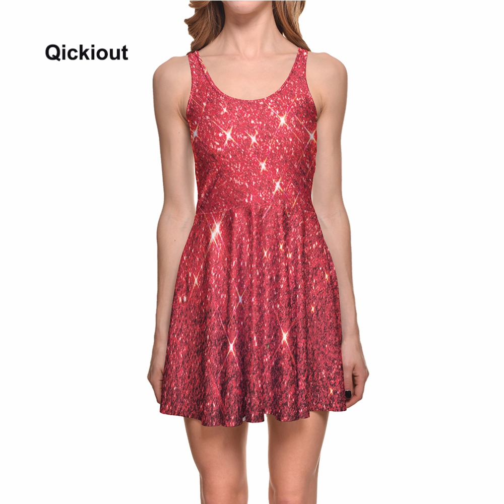 a17ee4d35abde Aliexpress.com : Buy Qickitout Dress Hot Product New Women's Red Star  shining Galaxy Dress Digital Printing SKATER DRESS Vestido Plus Size from  ...