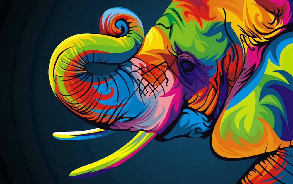 Oil Paintings Canvas Abstract Elephant Colorful Animals ...