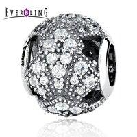 Oriental Fan, klar CZ Steine Ringsum 100% 925 Sterling Silber Charme Perlen Fit Europäischen Charme Armband Y