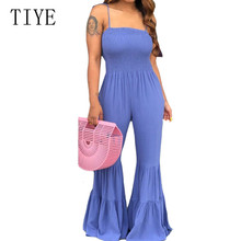 TIYE New Fashion Wide Leg Playsuits Sleeveless Spaghetti Strap Summer Loose Long Rompers Jumpsuits Women Casual Go Out Wear Mono