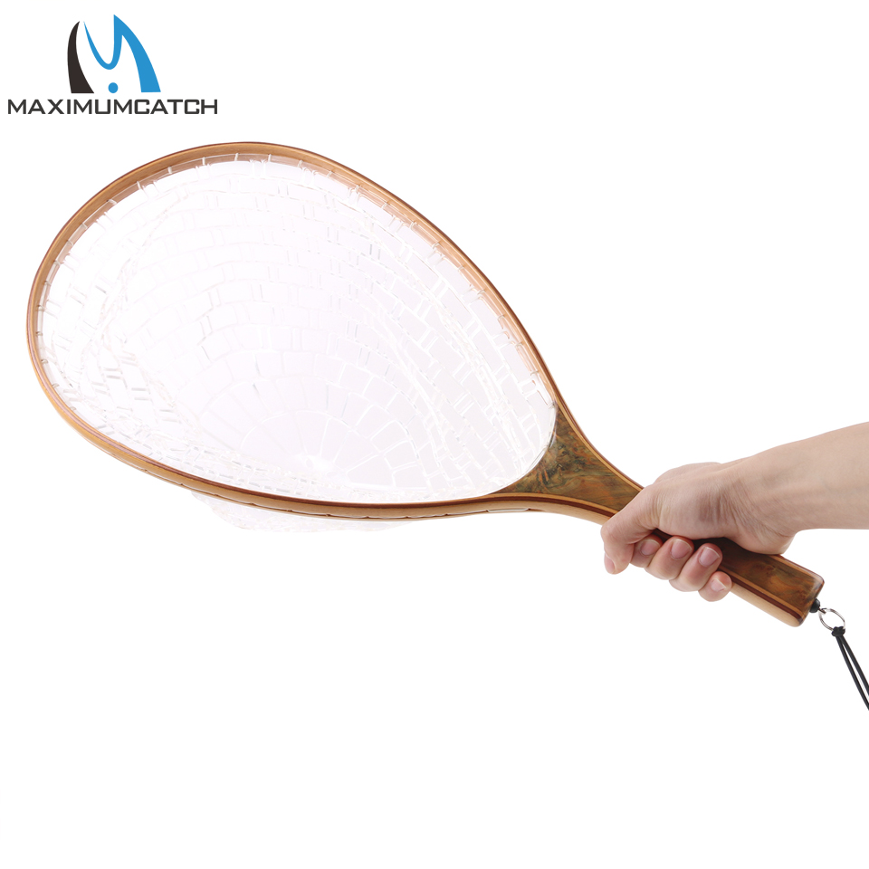 Maximumcatch Burled Wood Straight Handle Fly Fishing Landing Net Clear Rubber Catch & Release