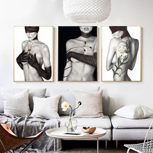 New black and white portrait art hand painted human body beauty rose decoration picture hanging frameless core