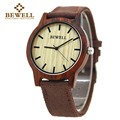 BEWELL 2016 Hot Sell Sports Dress Casual Natural Wood & Bamboo Watch With Canvas  Band for mens Gifts With Paper Box 134A