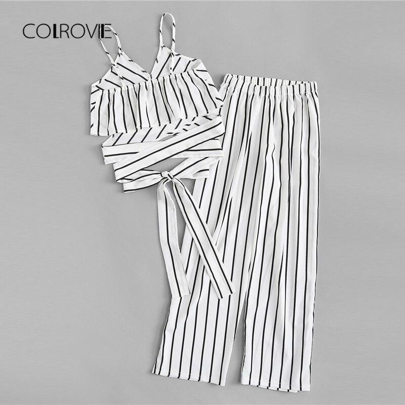 COLROVIE Striped Two Piece Set 180516302