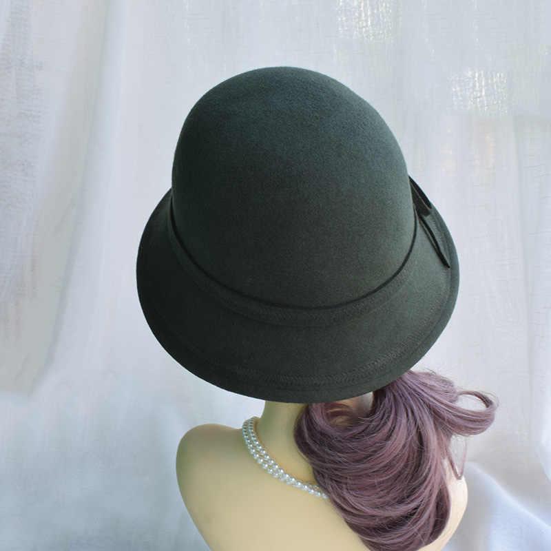 ecfac961d8c325 ... Winter Army Green Wool Felt Fedora Hats For Women Ladies Cloche Hats  Female Chapeau Free Shipping