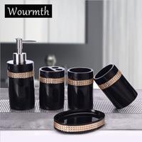 Wourmth European style rhinestone Bathroom Set 5Pcs Tooth Brash Holder Soap Dish Liquid bottle Tray Household Housewarming Gift