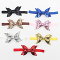 Baby Toddler Cute Girls Kids Hair Accessories Glitter Bows On Elastic Band Headband Summer Style