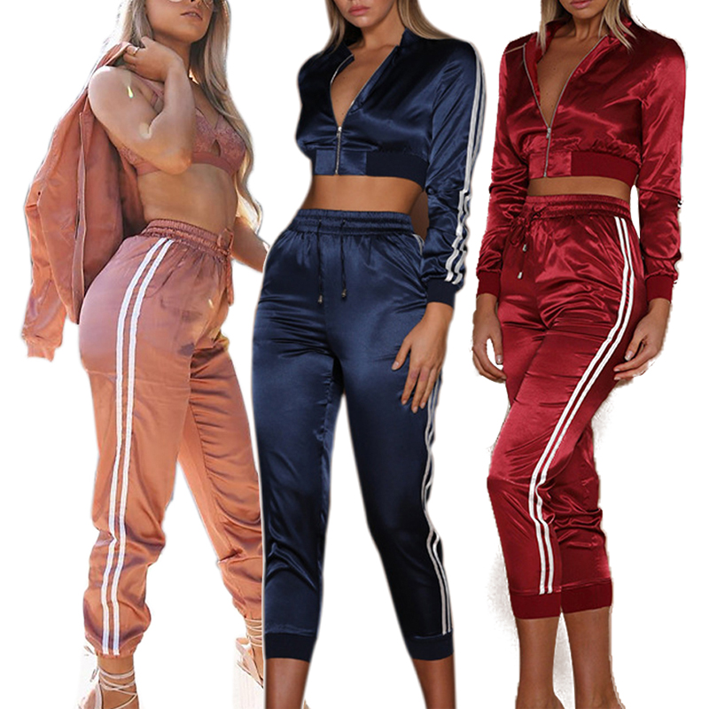 Tracksuit For Women Side Stripe Calf-length Pants Set Female Fashion Long Sleeves Zipper Corp Top And Sporting Wear 2 Piece Suit