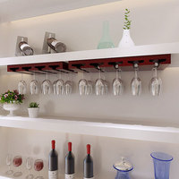 Solid Wood Wine Glass Rack Hanging Goblet Shelf Wall Hanging Red Wine Holders Wine Cabinet Top Upside Down Cup Rack Dual Use