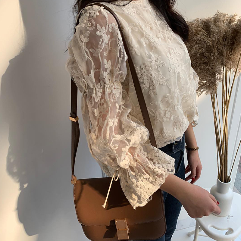 HTB1lEcxa6LuK1Rjy0Fhq6xpdFXa2 - Spring / Summer O-Neck Long Sleeves Embroidery Floral Lace Blouse