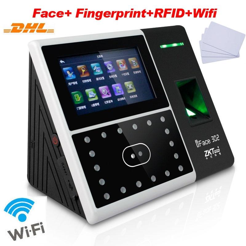 Бесплатная доставка DHL лица + отпечатков пальцев + ID карты распознавания соединение Wi-Fi время посещения записи управления доступом ZK iFace302 ...