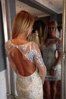 Sparkly Beaded Crystals Short Tight Fitted Champagne Long Sleeves Prom Homecoming Dresses Sexy Backless Girls Cocktail