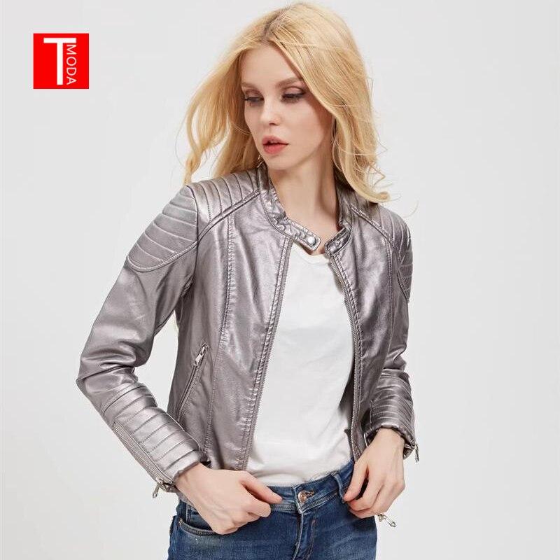 2018 Autumn Winter Women Faux   Leather   Jackets and Coats Lady Pu Motorcycle Shining Gray Zipper Coat Streetwear Biker Outerwear