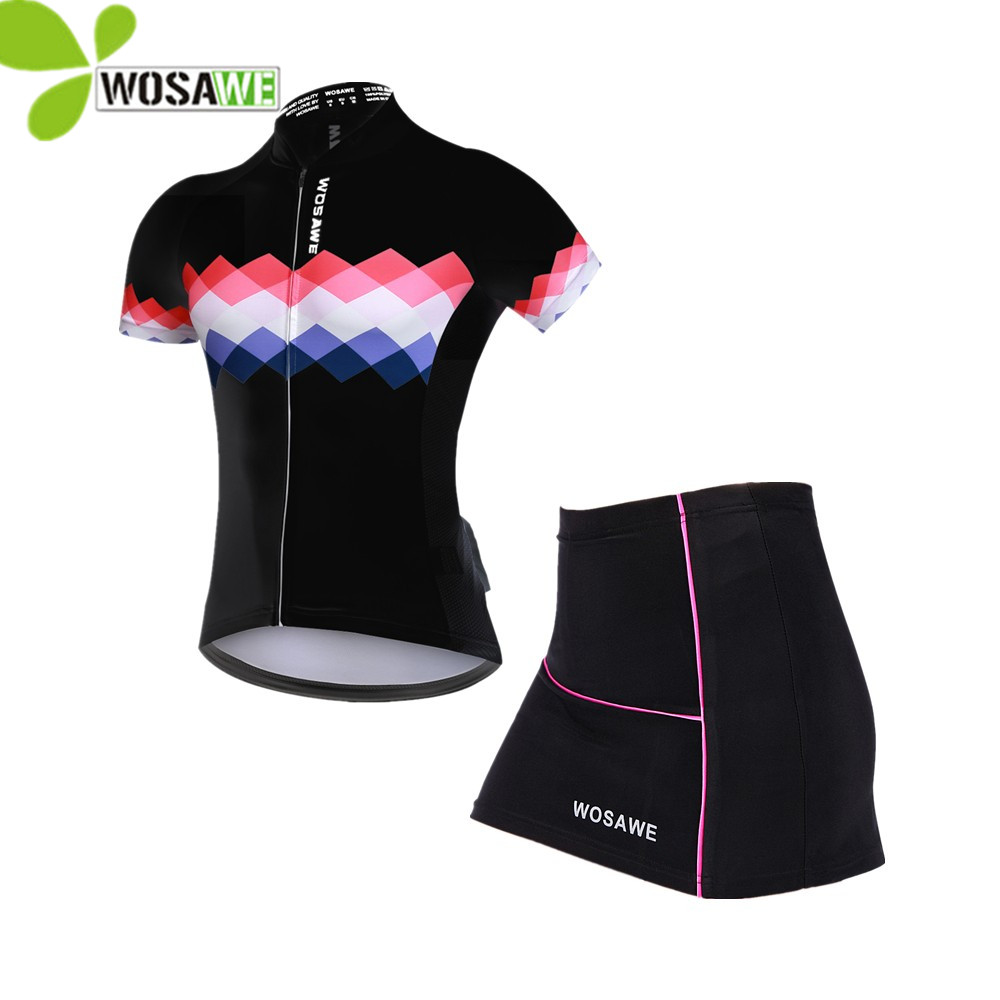 WOSAWE summer Short Sleeve Bike Cycling jersey Sets Women Sportswear Mtb Bicycle skirt suit 3D Gel Padded male riding clothes nuckily ma008 mb008 men short sleeve bicycle cycling suit