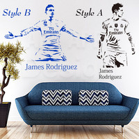 Art Fashion Design Home Decoration Cheap Vinyl Football Player James Wall Sticker Removable Soccer Sports PVC