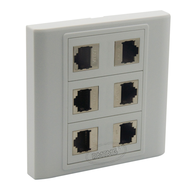 6 X CAT6A Shield RJ45 Wall Plate With Backside Female to Female connector