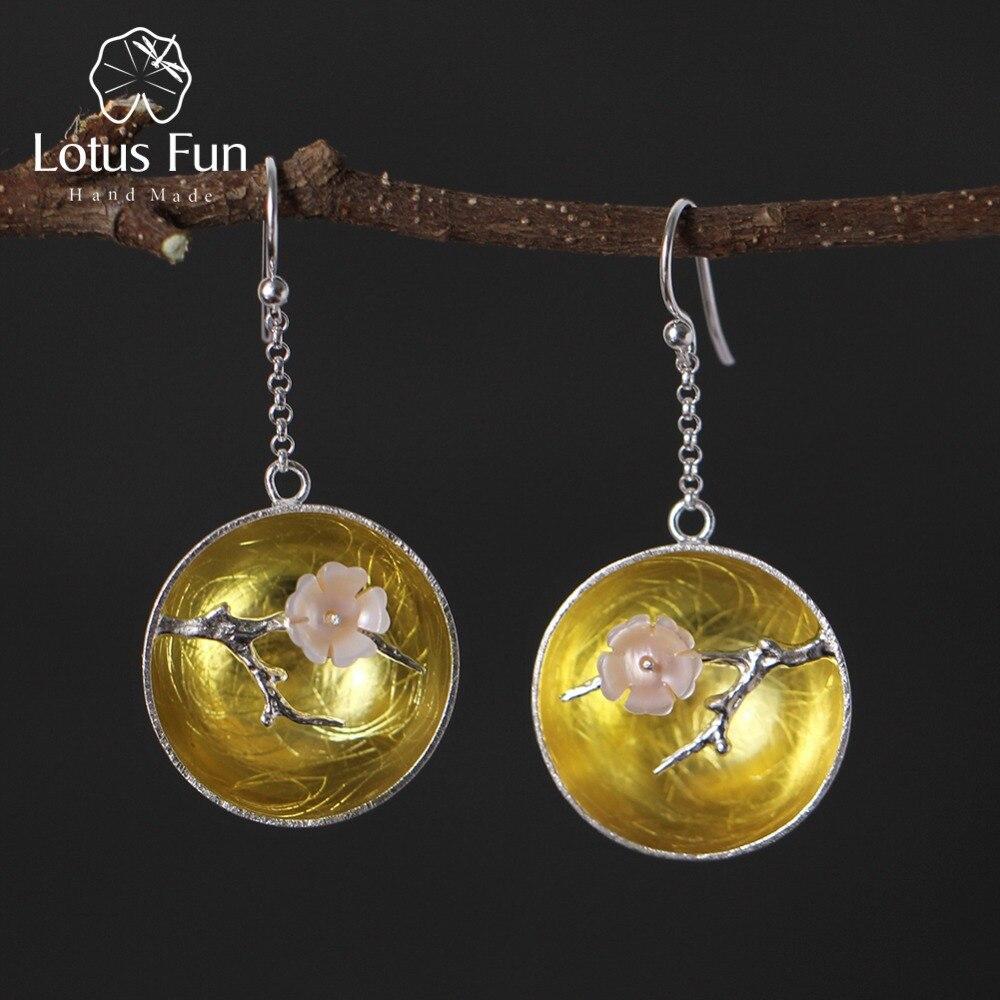 Lotus Fun 925 Sterling Silver Natural Shell Earrings Handmade Fine Jewelry The Aroma of Wintersweet Dangle Earrings for Women