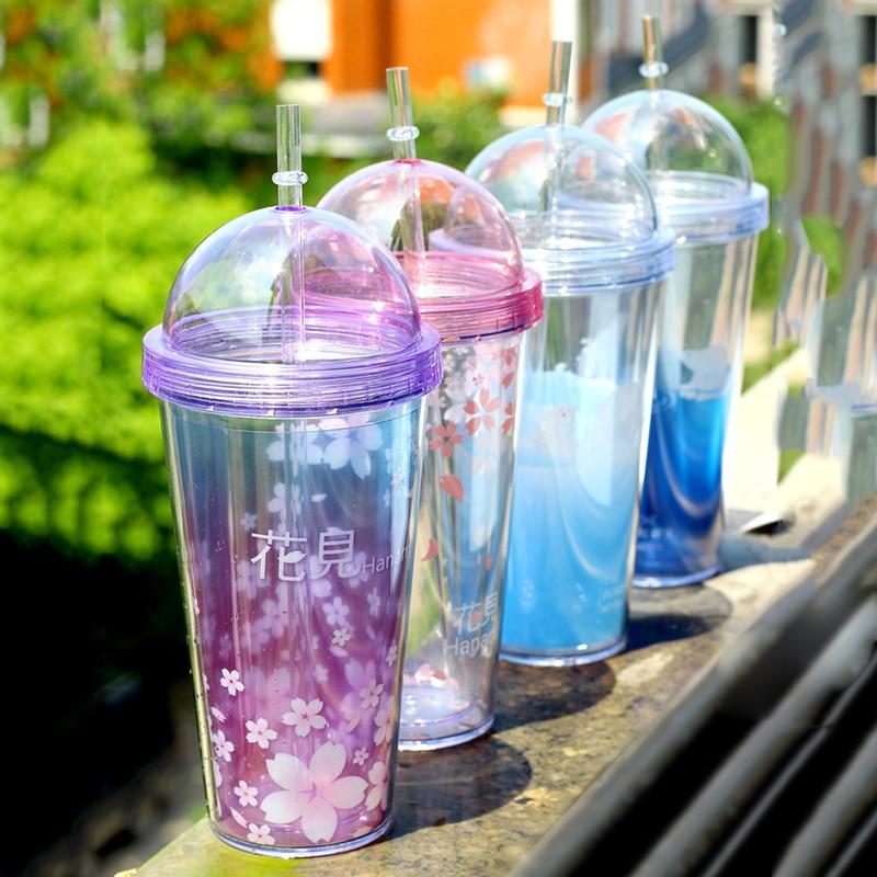 Water Bottles Straw Bottles For Water Plastic Transparent Portable Flower Drinking bottle Drinkware C2