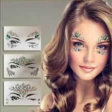 цена на DIY Temporary Rhinestone Glitter Tattoo Stickers Face Jewels Gems Festival Party Makeup Body Jewels Flash Fake Temporary Tattoos
