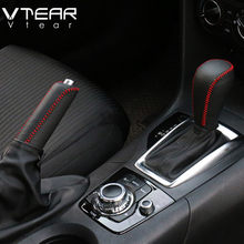 Vtear For Mazda 3 Axela 2014-2019 Gear head cover handbrake cover interior leather Hand-stitched Accessories Gear Shift Collars(China)
