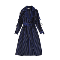 New Autumn And Winter Star Fashion Star High End Women S Elegant Long Striped Dress Coat