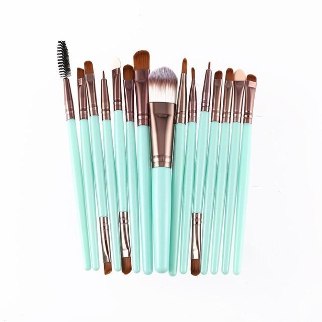 15pcs/set Makeup Brushes Sets Kit Eyelash Lip Foundation Powder Eye Shadow Brow Eyeliner Cosmetic Make Up Brush Beauty Tool 2
