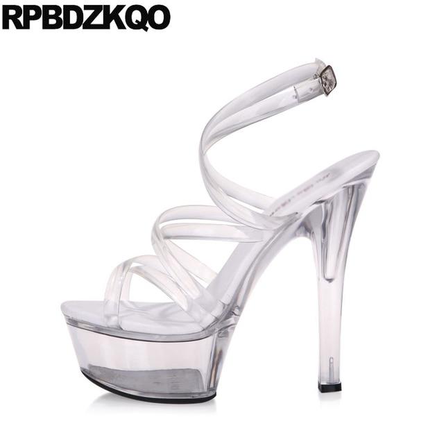 58960377a5da Glass Large Size Sandals Gladiator Crossdressed Pumps Perspex Women Platform  Shoes High Heels Clear Strap Stripper