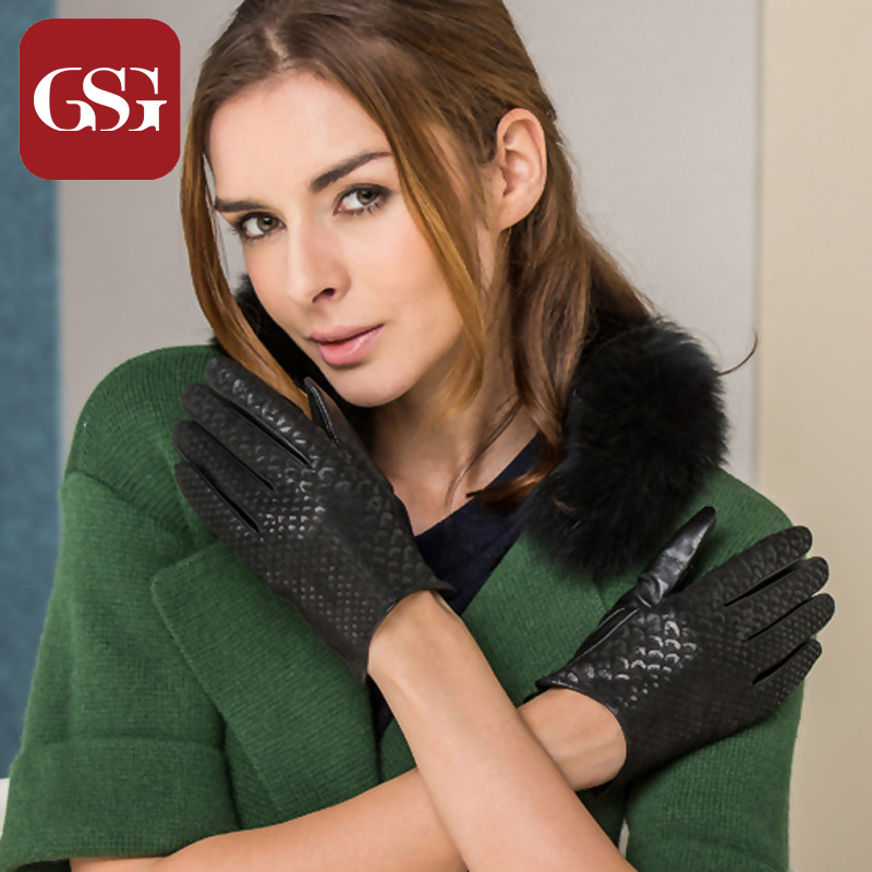 GSG Fashion Genuine Leather Gloves TouchScreen Embossed Winter Driving Leather Gloves for Women Ladies Black Warm Wrist Mittens