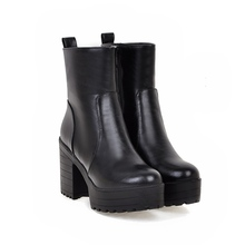 Autumn Winter High Heel Platform Shoets Martin Boots Short Thick Heel Mid-calf Boots Women's Shoes Big Size 34-43 7652