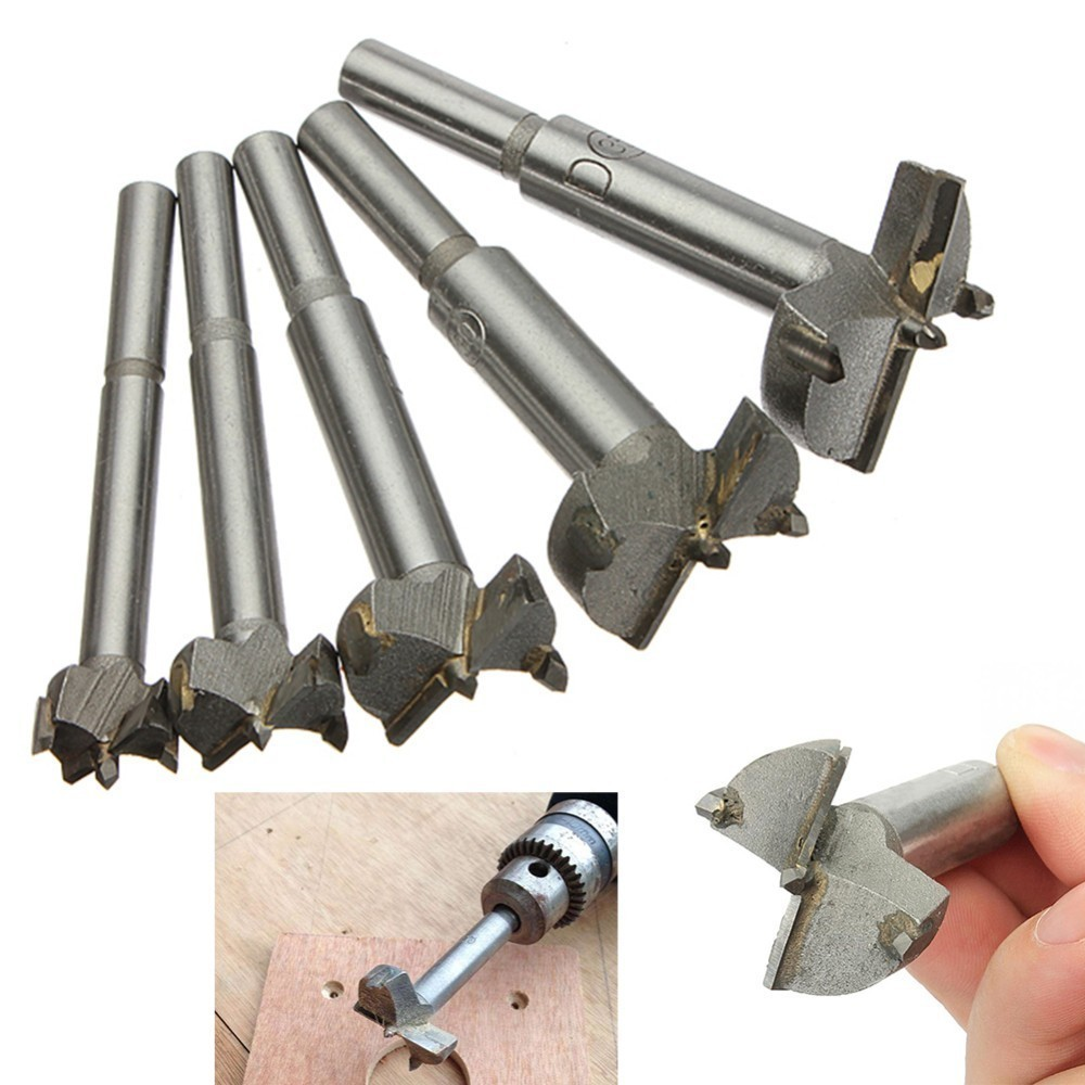 5pcs/Set Hand Tools YG8 Forstner Auger Drill Bit Woodworking Hole Saw Wooden Wood Cutter Dia 15 20 25 30 35mm Silver