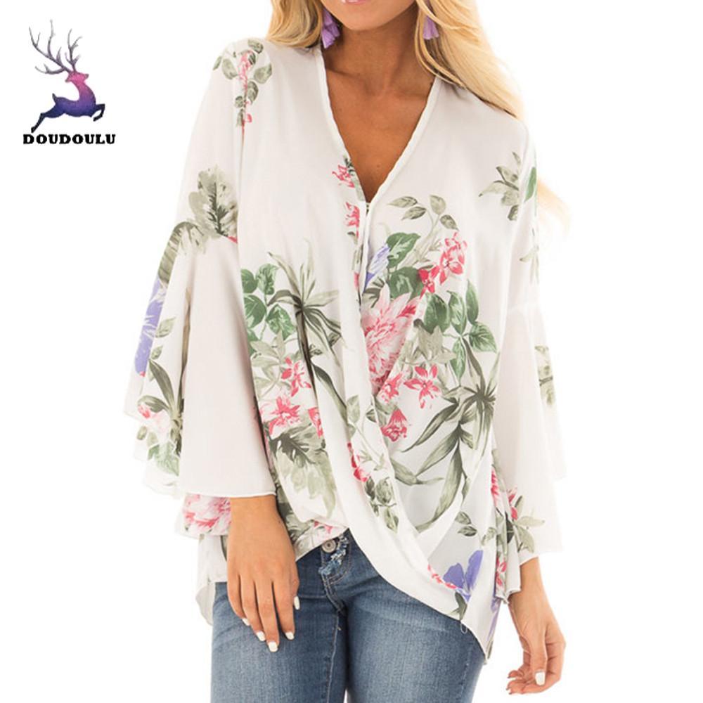 Spring Blusas 2017 Fashion Women Chiffon Patchwork Shirts Slim Long Lea Orange Label Fit Jeans Pants Hitam V Neck Top Womens Summer Blouse 2018 Clothing Soft Casual Print Flower