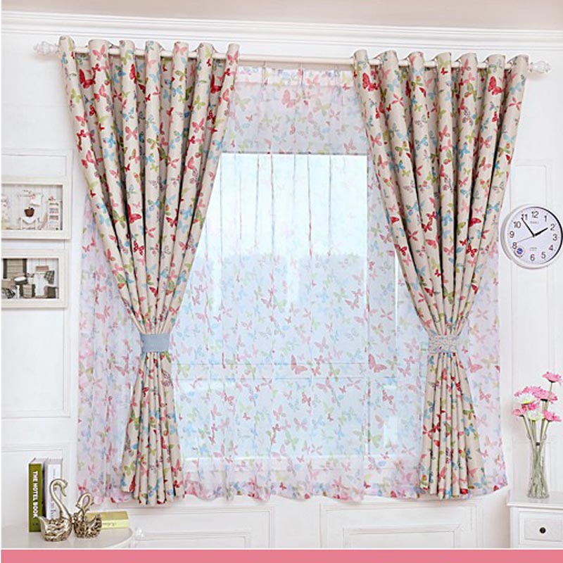 2016 new blackout butterfly curtains for living room