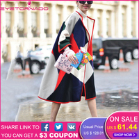Women Fashion Color Block Print Wool Coat Winter Long Casual Loose Work O Neck Blends Woolen Coat Outerwear High End 61