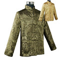 Green Gold Reversible Chinese Men's Silk Satin Two-Face Jacket Coat with Pocket Size S M L XL XXL XXXL Free Shipping M1041